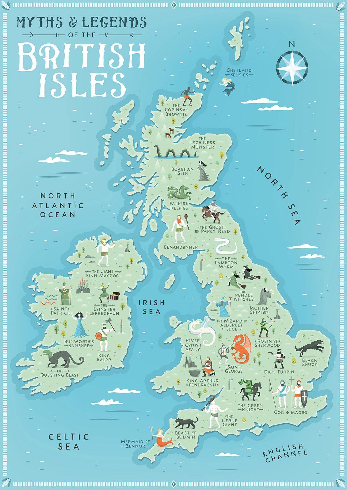 Myths And Legends Of The British Isles Illustrated Map