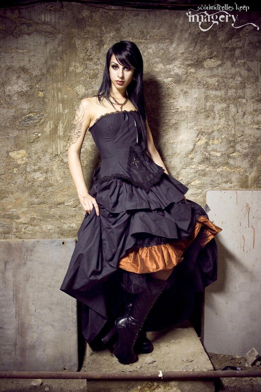 Steampunk alternative wedding dress black kirsten gothic vampire