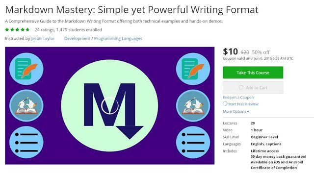 Coupon Udemy - Markdown Mastery Simple yet Powerful Writing - coupon format