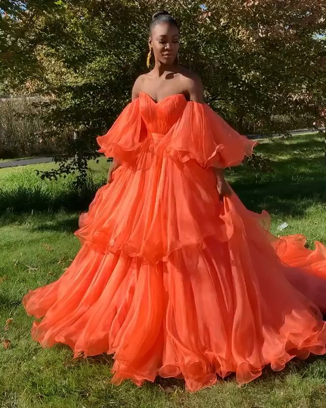 Photo of Orange tulle Couture Dress
