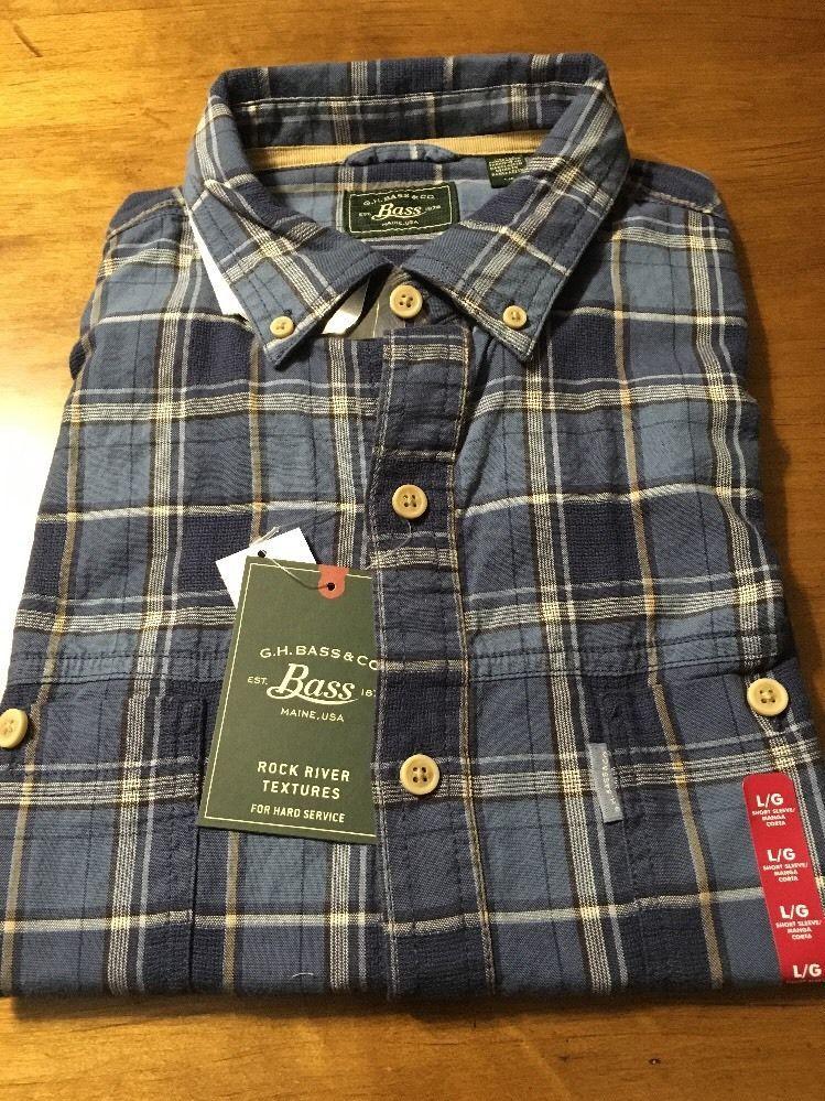 G.H. Bass & Co. Insignia Blue Plaid Men's Short Sleeve Shirt Size Large NWT $50 #Bass