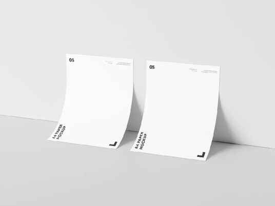 Sheets Of A4 Paper Leaning Against Wall Mockup Mockup World Photoshop The One Branding