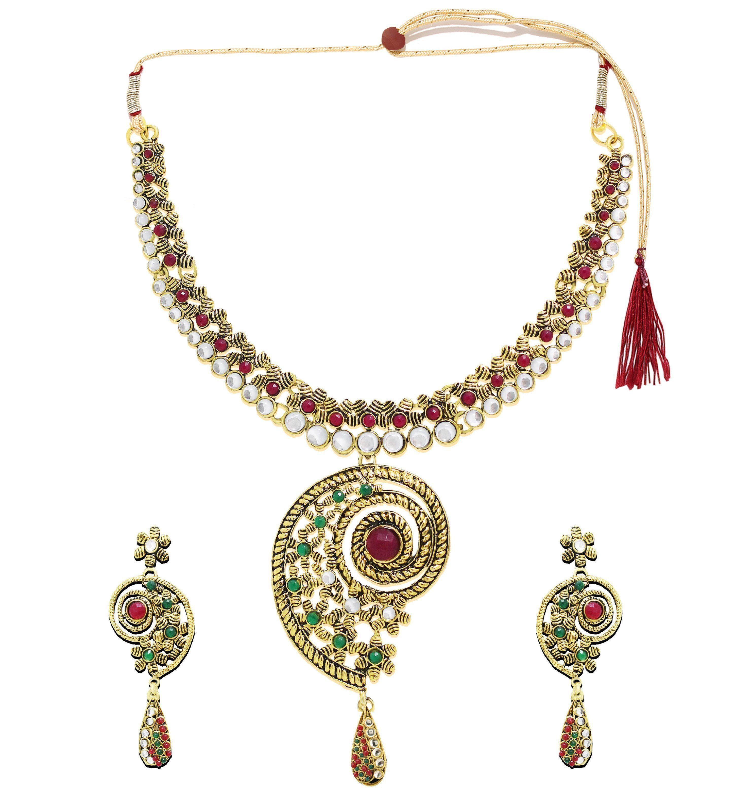 Zaveri Pearls Classic Antique Necklace Set Zaveri Pearls Jewellery