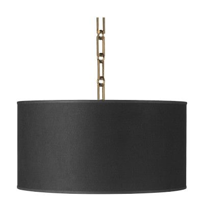 "Custom Linen Drum Pendant, Black #williamssonoma      Overall: 18"" diam., 81"" H.     Shade: 18"" diam., 9"" H.     Maximum hanging length: 81""     Minimum hanging length: 15""     Chain: 6' long.     Ceiling plate: 5 3/4"" diam., 1 1/2"" thick.     Bulb (2): Uses standard E26 bulbs, to 100W (not included)."