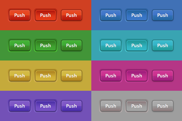 Multi Colored Push Buttons Html Css Code Snippet Sostoyanie