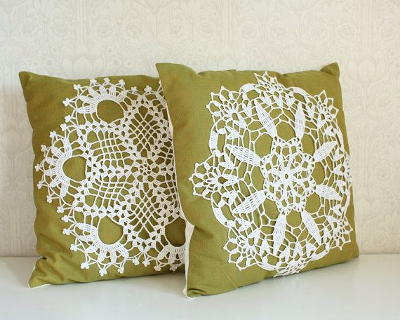 Stitched on linen, a vintage crocheted doily straddles the line between traditional and contemporary. ($46; tuuni.etsy.com for similar)