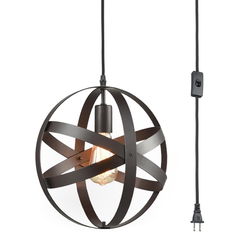 Industrial Bronze Plug In Pendant Light With Metal Globe Shade In 2020 Plug In Pendant Light Hanging Light Fixtures Pendant Light