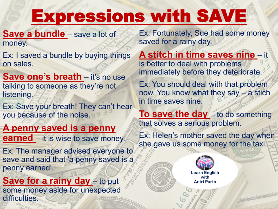 Expressions With Save Learnenglish Antriparto Learn English English Idioms English Vocabulary