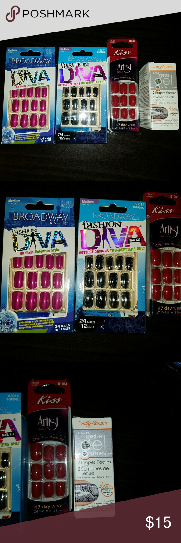 Variety nail bundle 2 packs of Broadway Fashion diva nails 1 pack of ...