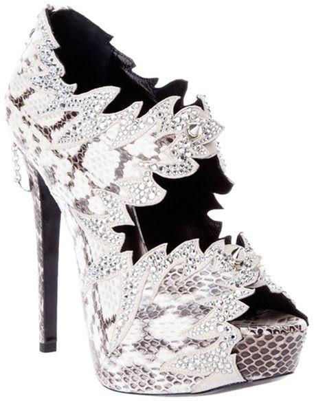PHILLIP LIM Python Skin Heel with SWAROVSKI ELEMENTS rhinestones!  www.harmanbeads.com