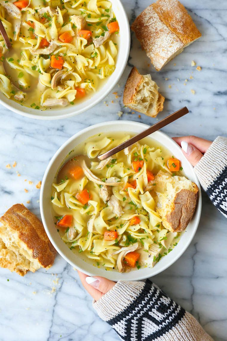 Instant Pot Chicken Noodle Soup - The best, easiest, and quickest homemade chicken noodle soup you will ever make in your pressure cooker! Tastes just like mom's cozy, flu-fighting, homestyle soup!