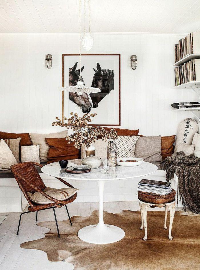 attraktive essecken - gestaltung in weiß und braun Speisezimmer - Wohnzimmer In Weis Und Braun