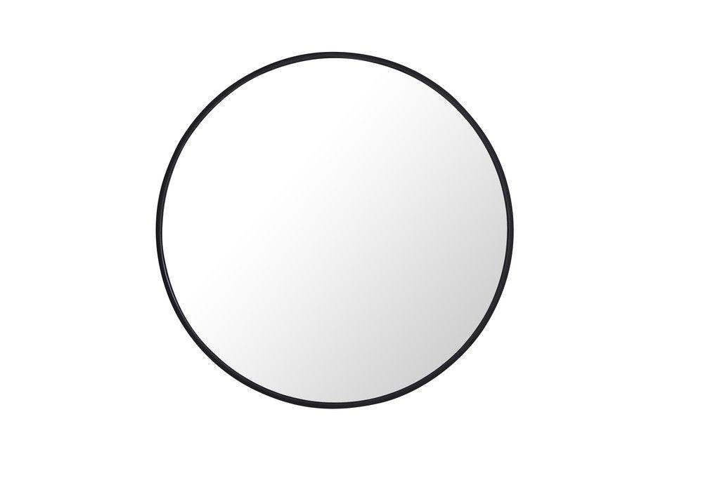 122 24 Metal Frame Round Mirror 24 Inch Black Finish Framed