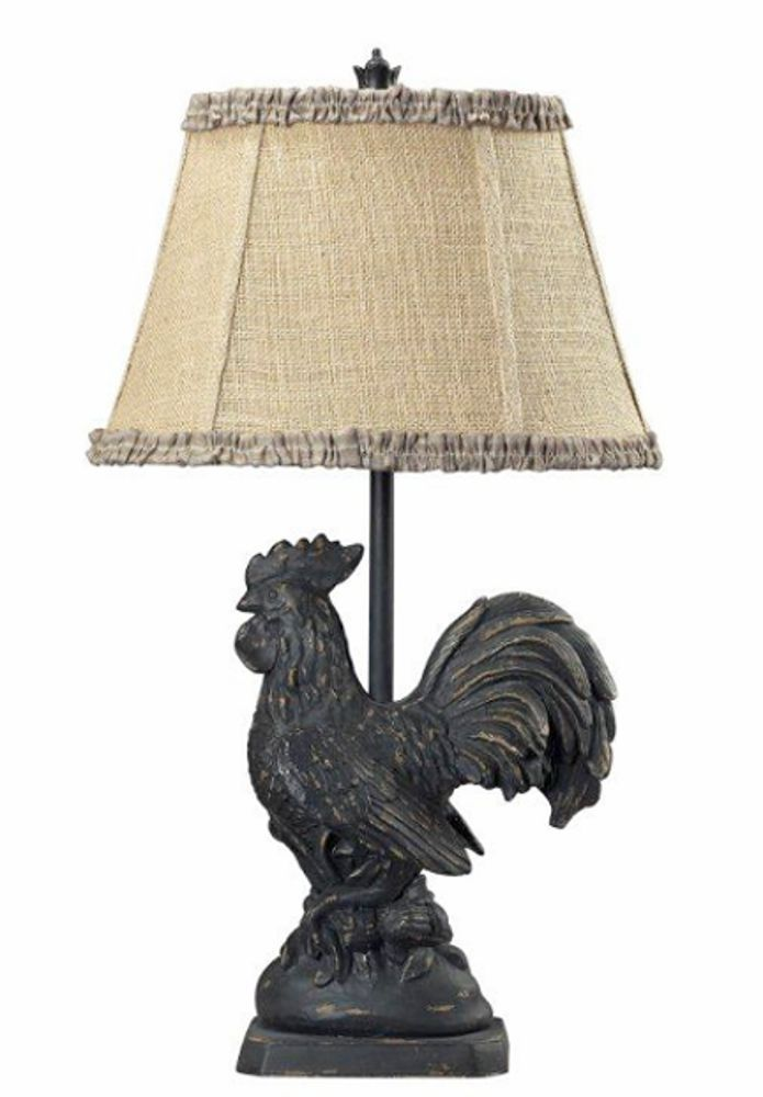 French Country Rooster Table Lamp Decorative Burlap Shade Farm Animal 25 H Led Table Lamp Lamp Black Table Lamps
