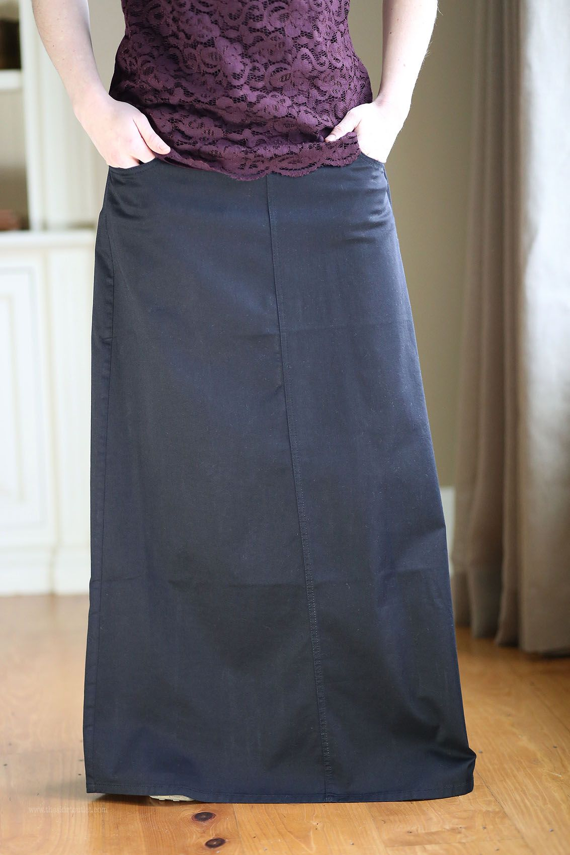 Simple Black Twill Long Skirt | Size 2-12 | Long Casual Skirts ...