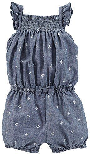 96a5d08ea Carter s Baby Girl Sleeveless Jumpsuit ~ Chambray with White Anchor ...