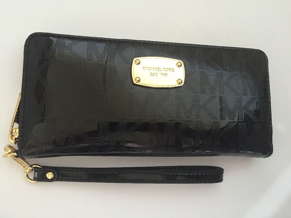 2405d6a5143a Michael Kors Jet Set Travel Continental Wallet Wristlet Black Mirror | eBay