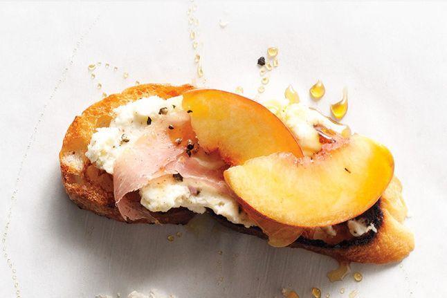 Peach, Prosciutto  Ricotta Crostini - Bon Appétit