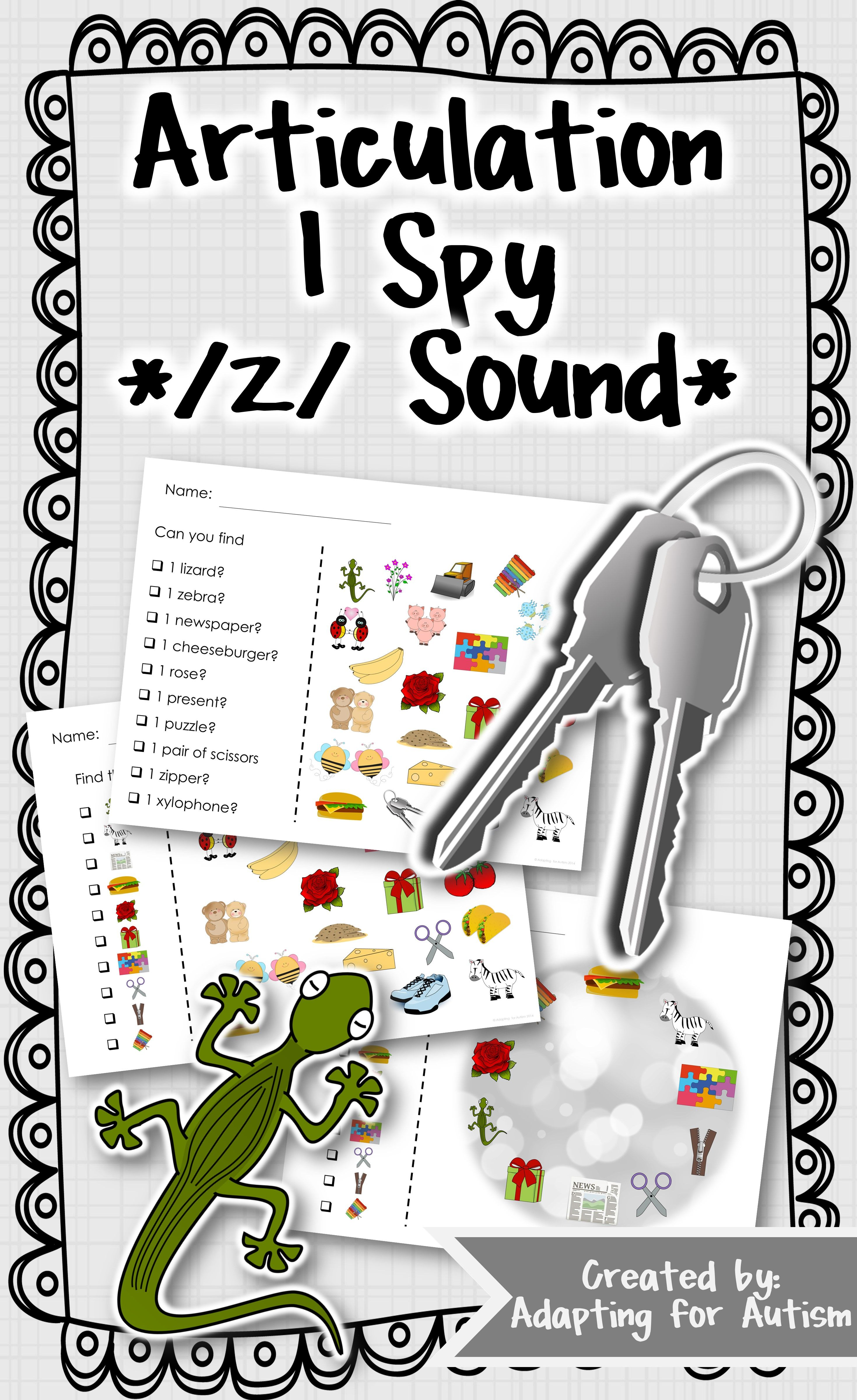 Articulation Activity Z Find It Speech Therapy Game