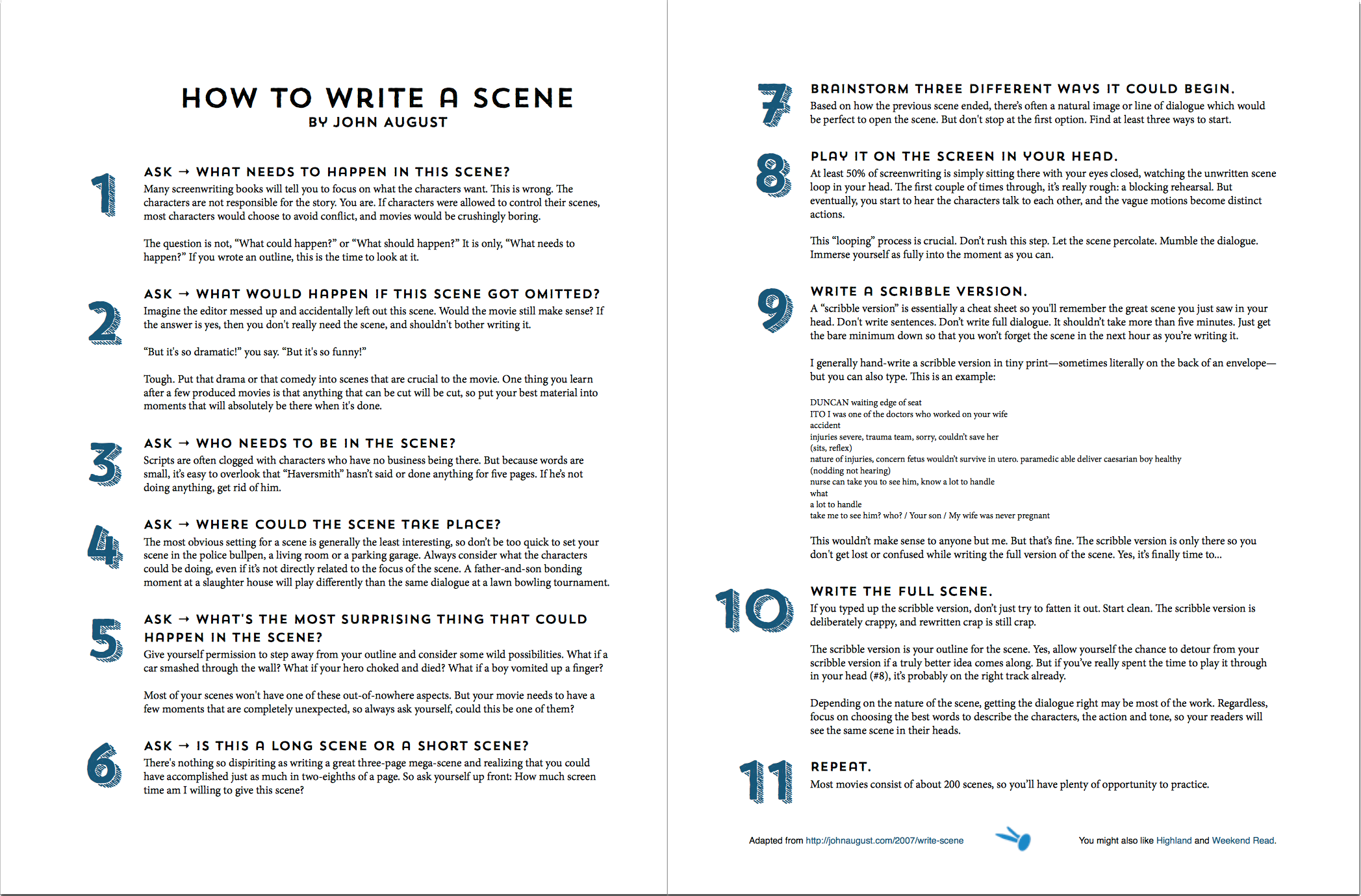 how to write a scene now in handy two page form johnaugust com