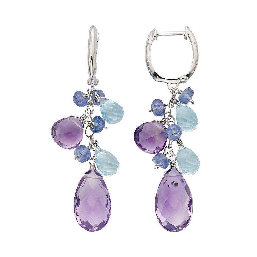 Fine Jewelry Multicolor Genuine Gemstone 14K White Gold Drop Earrings 9Zmjl4ZY
