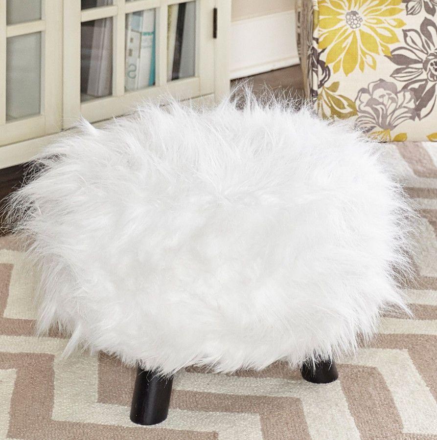Modern White Shag Upholstered Faux Fur Ottoman Foot Stool Living ...