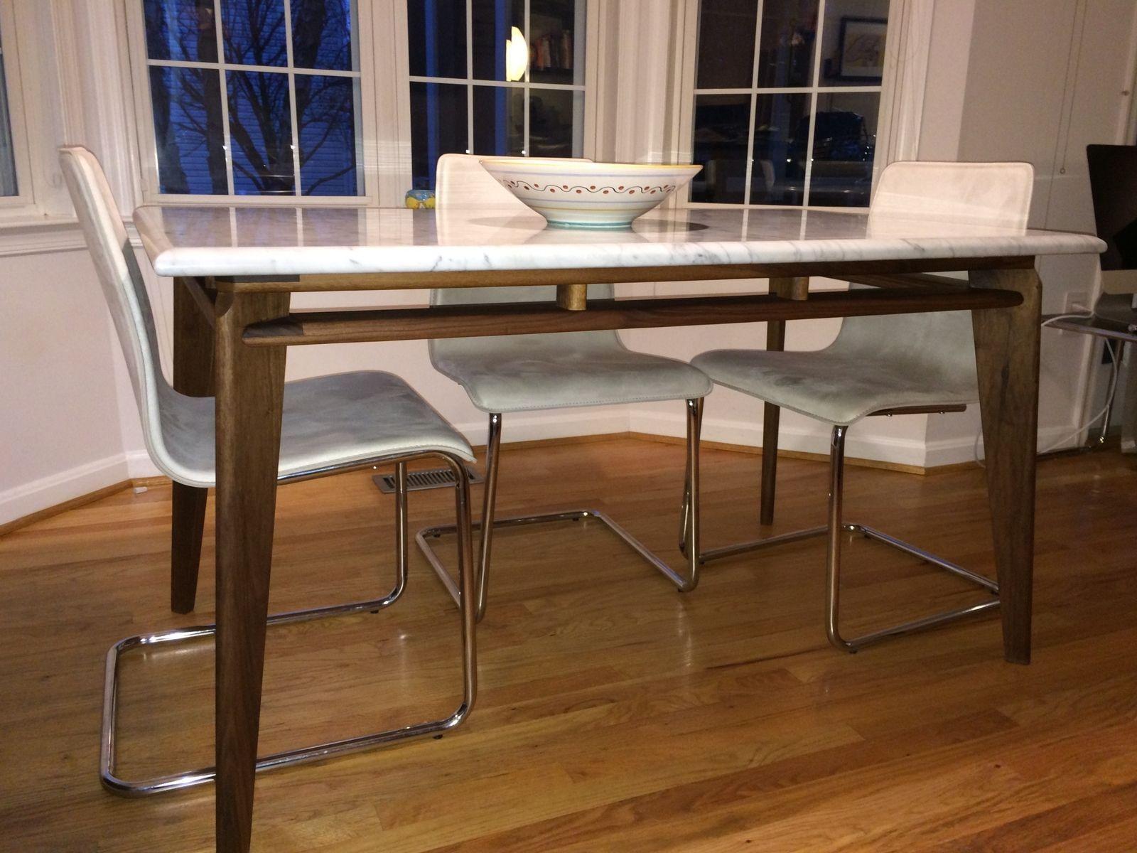 custom made marble  walnut modern dining table base  dining  - custom made marble  walnut modern dining table base