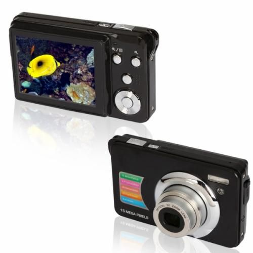 15MP Digital  Camera Black  This camera has a CMOS sensor, 15MP resolution, 2.7 inch TFT screen, 15.0 megapixel mas resolution, Up to 32GB, Optical zoom lens, 4x digital zoom, and much more!