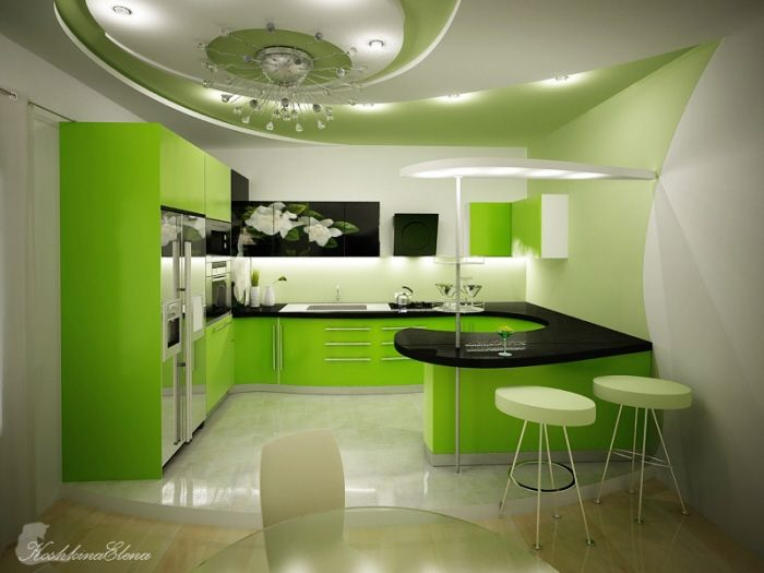 Five Fresh Kitchen With Green Design By Koshkina Elena Minimalist Kitchen Design Green Kitchen Designs Kitchen Design Color