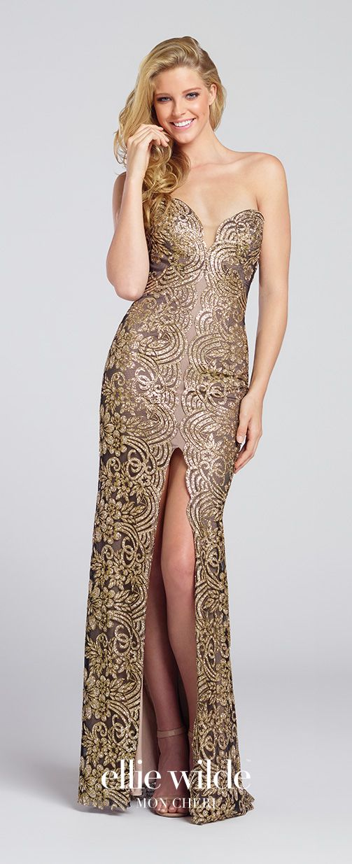 Gold Strapless Sparkle Sequin Fit And Flare Prom Gown Ew117110
