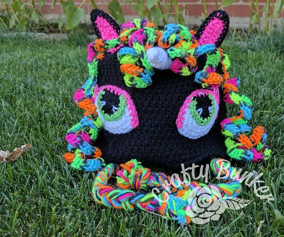 Crochet Black Unicorn Hat Child Size Ready To Ship  bfee58cf5a0