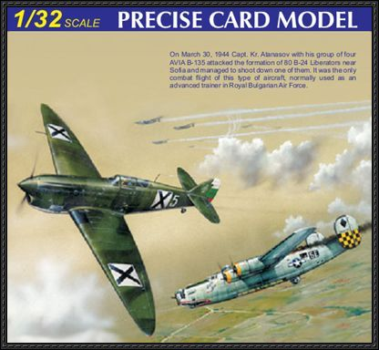 This paper plane is a famous fighter during WWII, the aircraft paper model is Avia B-135 (aka Av-135), designed by E.Zarkov. This is a free model by ModelA