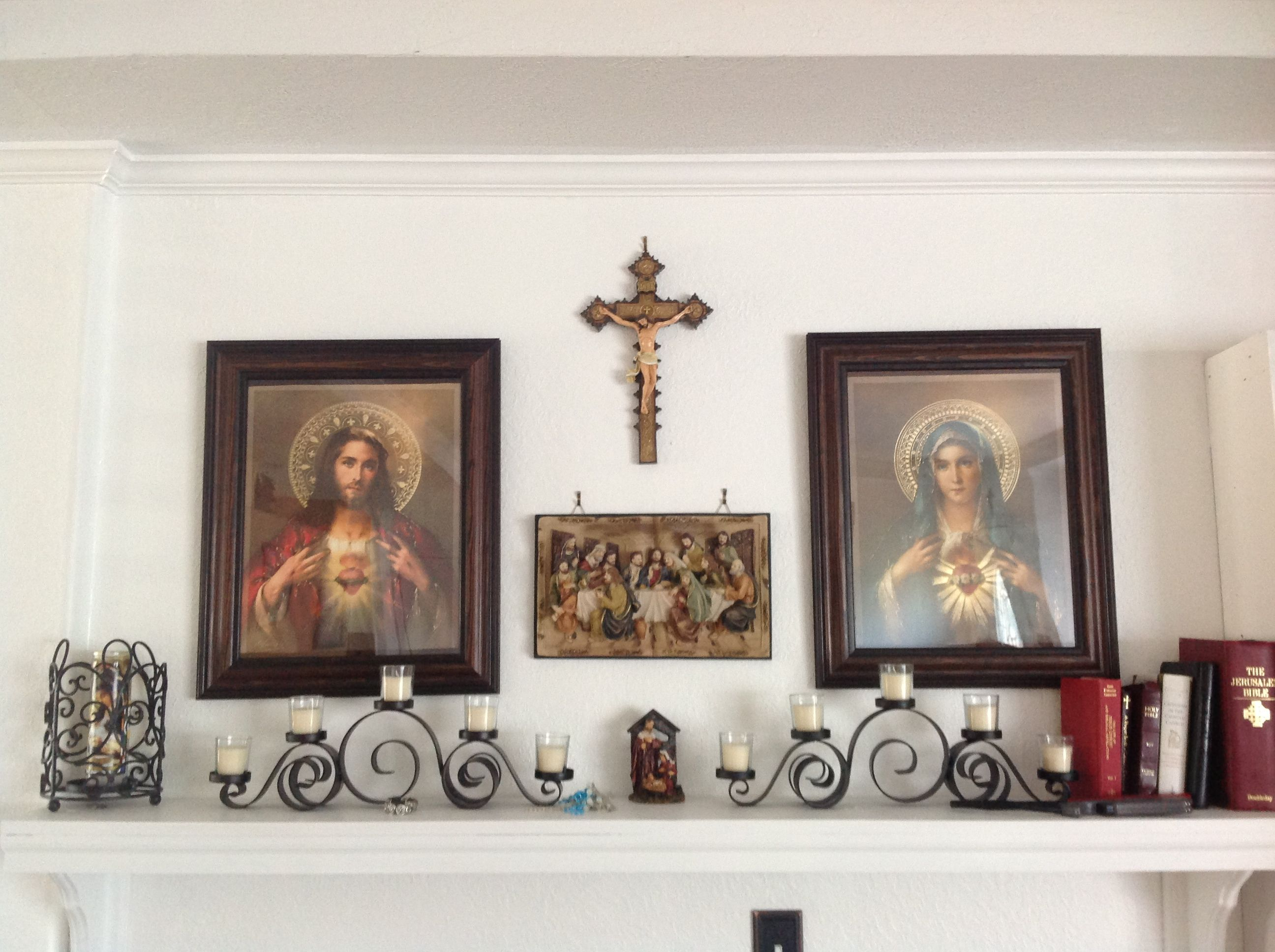 Catholic home altar on a shelf home altar ideas for Altar wall decoration
