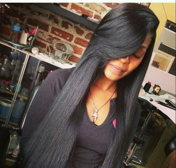 Straight Weave Hairstyles With Bangs