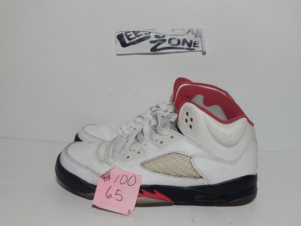 best website 30e4a 0b332 (eBay Sponsored) Nike Air Jordan 5 Retro GS  440888-100  Basketball White Fire  Red-Black 6.5
