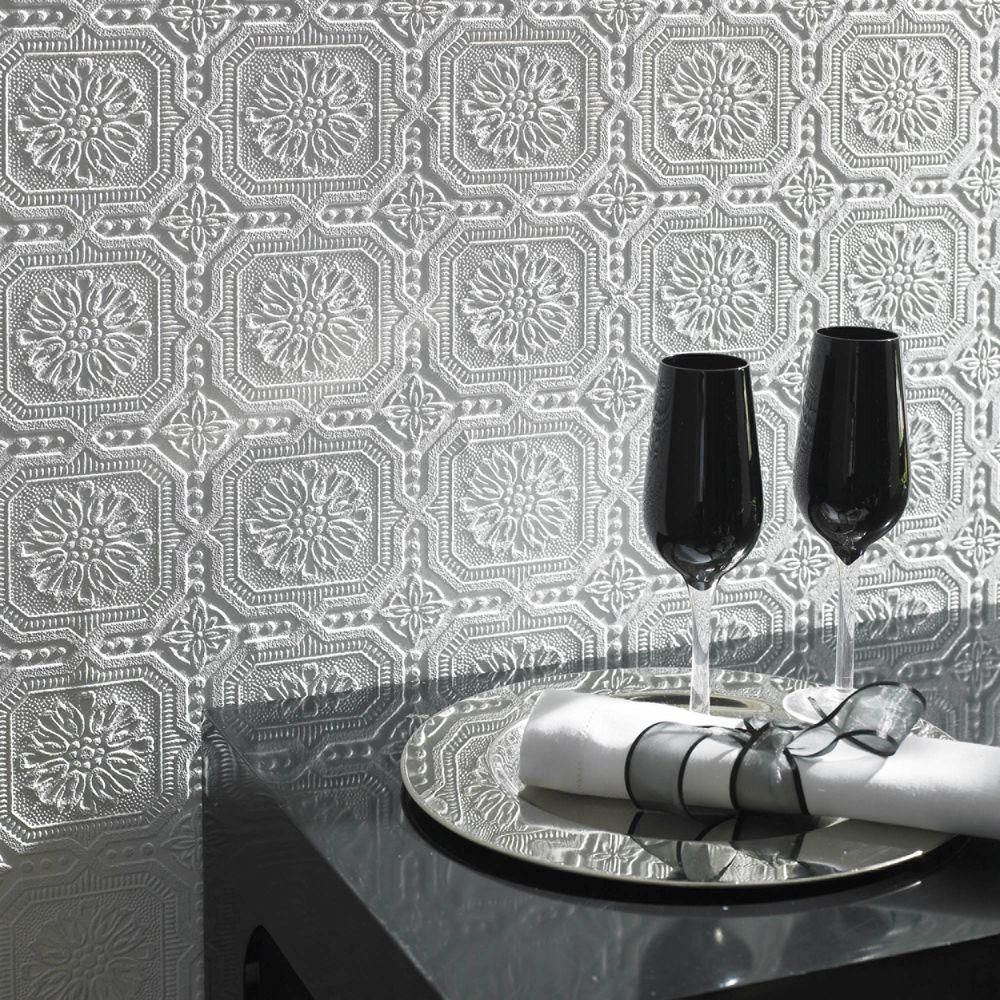 Graham Brown Squares White Vinyl Peelable Wallpaper Covers 56 Sq Ft 12024 The Home Depot Paintable Textured Wallpaper Paintable Wallpaper Eclectic Wallpaper