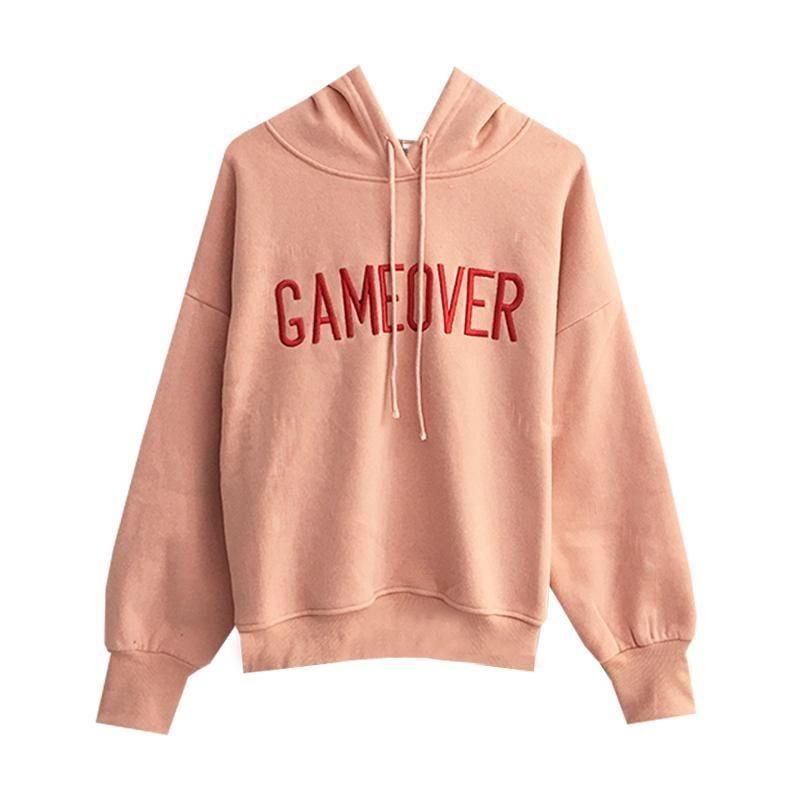 aef737781 Gameover pink warm fleece oversized hoodie