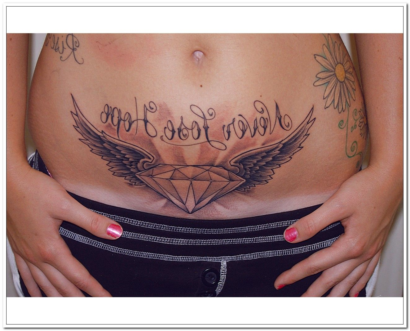 Diamond Wings Stomach Tattoos For Girls With Images Intimate