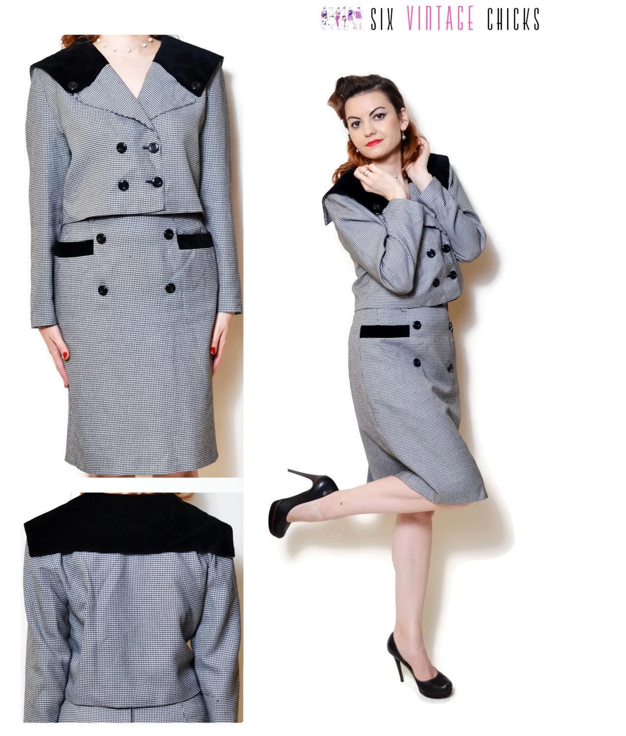 Mod skirt suit 80s a line long sleeve blazer belted jacket quilted ...