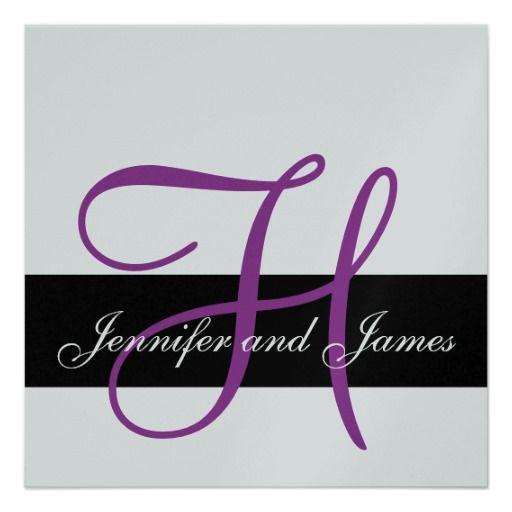 Silver Wedding Invitation Monogram H Names Purple Silver wedding - best of invitation name designs