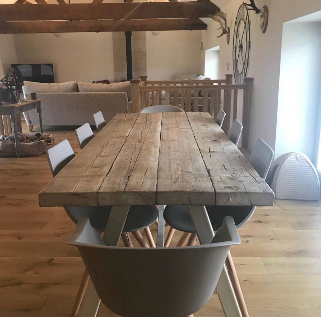 Reclaimed Industrial Chic 10 12 Seater Dining Table Bar Cafe Restaurant Furniture Steel Solid Wood Metal Made To Measure 473 8 Seater Dining Table 12 Seater Dining Table Metal Dining Table
