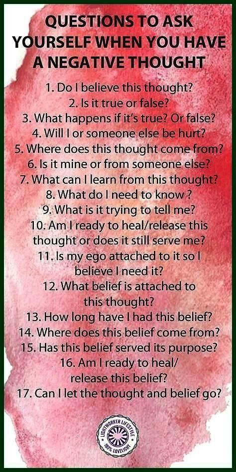 Yourself When You Have a Negative Thought These are some questions I use when doing belief work or when a thought bothers me Question to Ask Yourself When You Have a Nega...