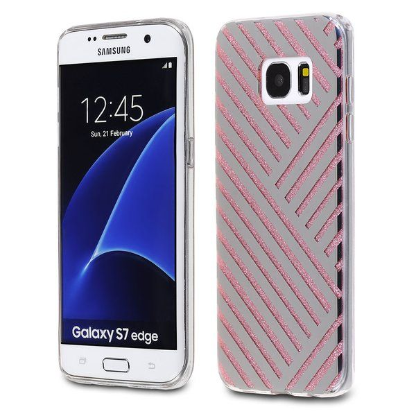 Samsung Galaxy S7 Edge - TPU PC Silver Monochrome Stripes Design on Pink Glitter…