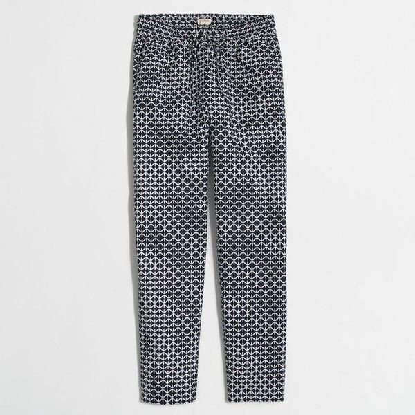 35a840eefac J.Crew Factory printed linen-cotton drawstring pant ( 40) ❤ liked on  Polyvore featuring pants
