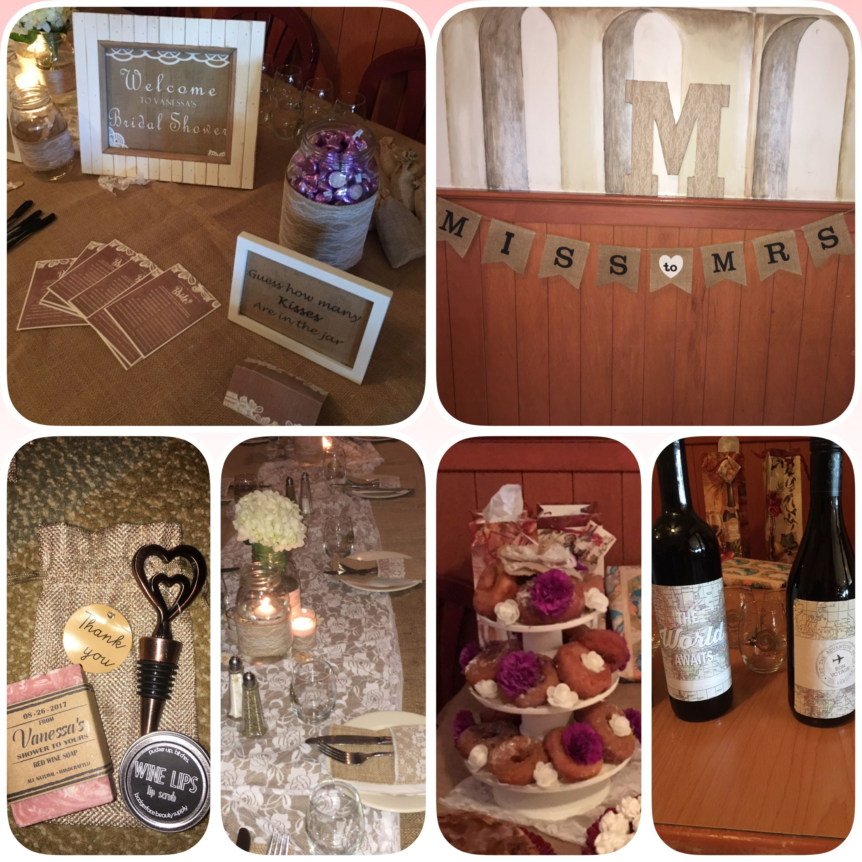 """Wine and travel themed bridal shower on a budget with burlap and lace decor. Homemade burlap/lace wrapped Mason jars, tea candles, giant """"M"""", and party signs. Most items can be purchased at Walmart or Michael's and put together at a very reasonable price with a regular computer printer and a hot glue gun. These decorations were time consuming, but well worth it in the end."""