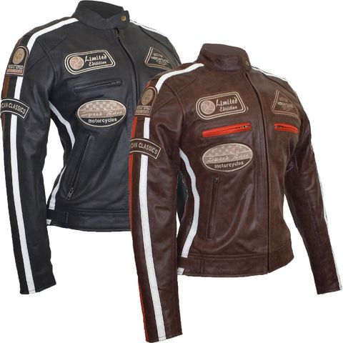 Ladies Retro Style Motorbike Jacket Made From Cracker Finished