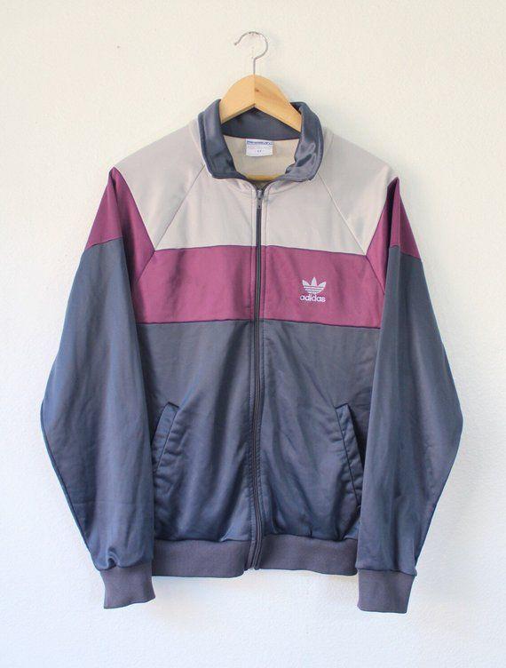 80ff8f55e Vintage 80s Adidas Originals Tre Foil Zip Up Track Jacket Size Medium ATP  Run DMC era