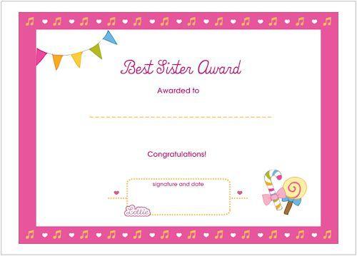 Best Sister Printable Award Certificate Printable Certificates Sisters Printable Free Gift Certificate Template