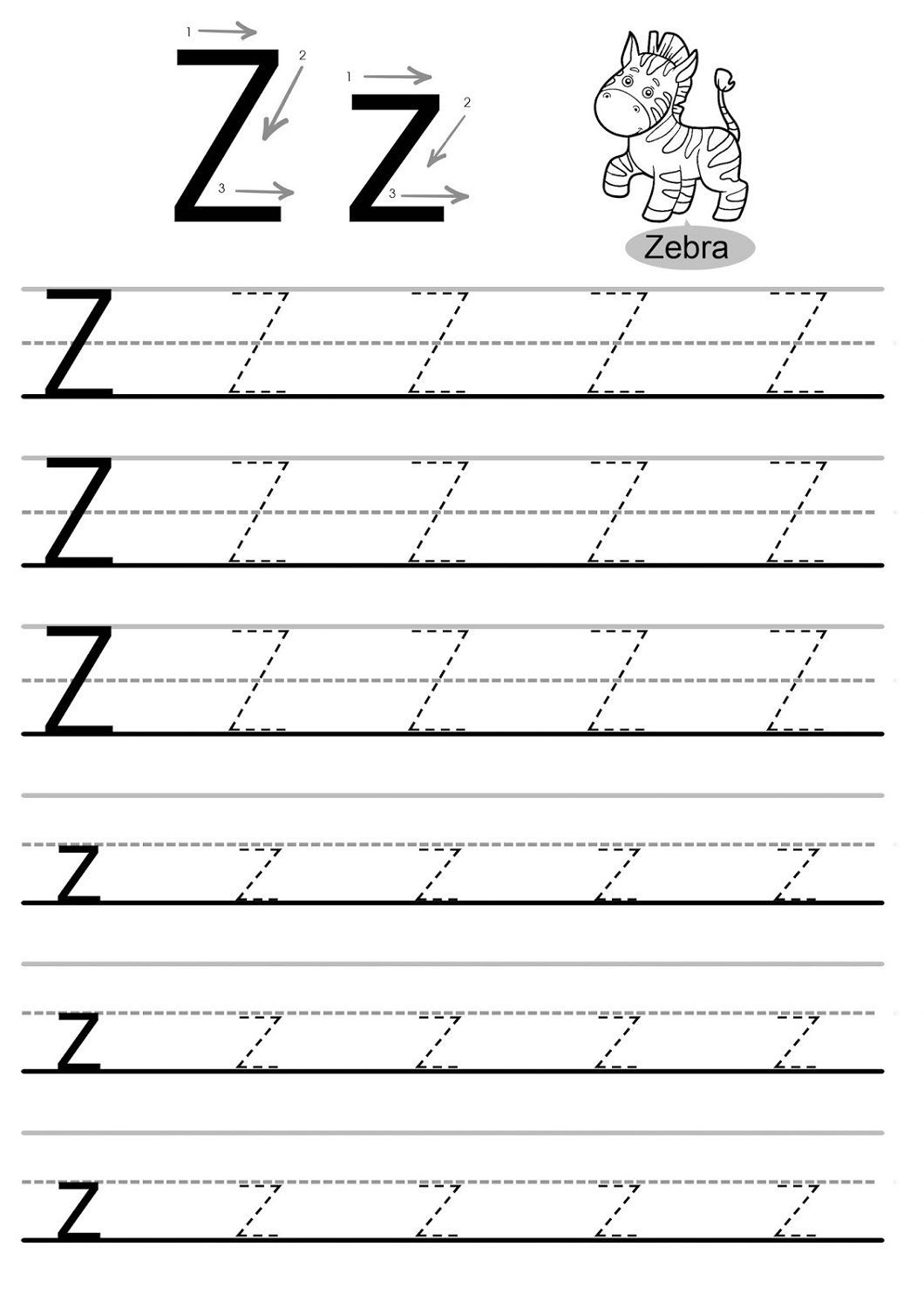 4 Traceable Name Worksheets Printable Letter Z Worksheets