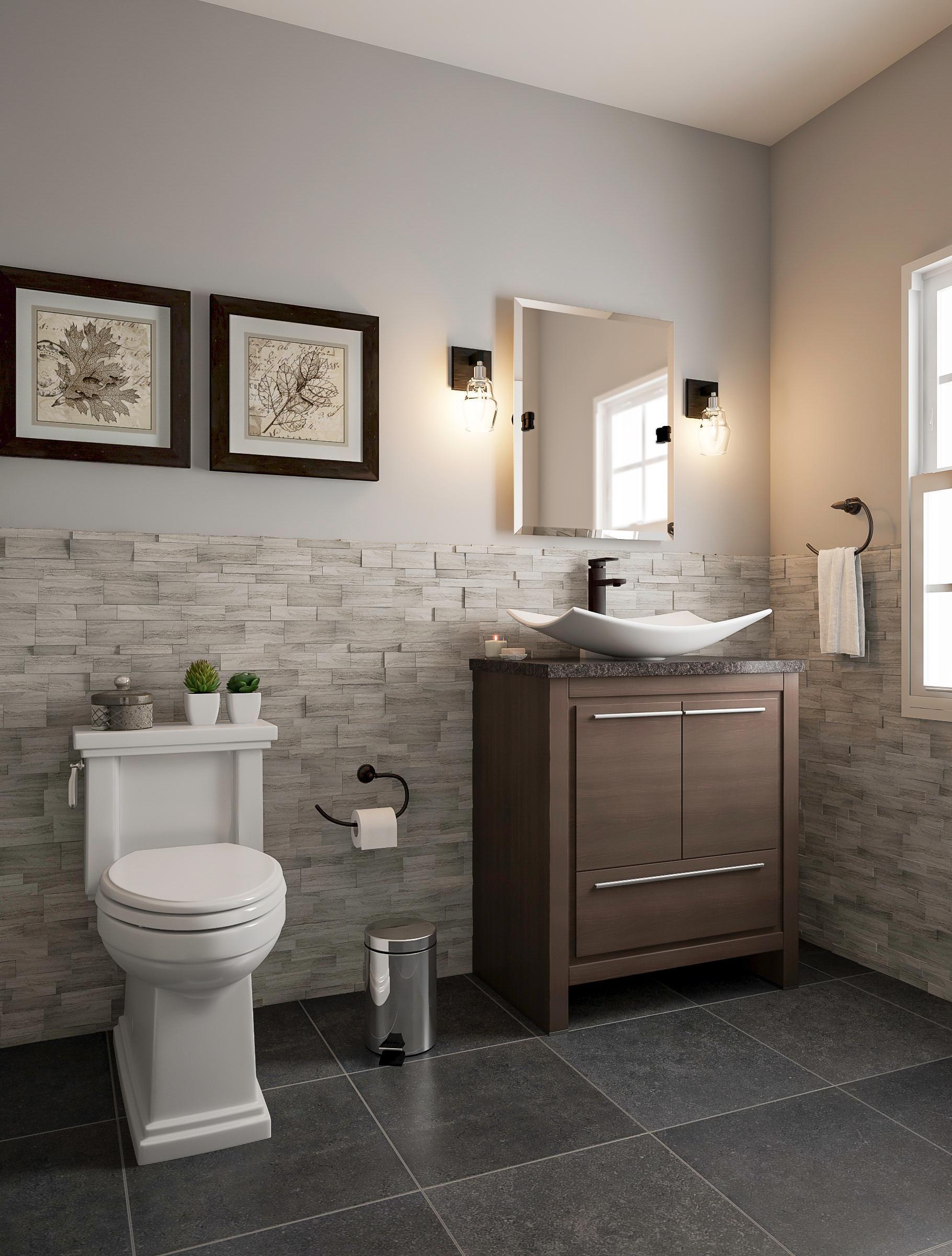 Dusky Bathroom With Wainscoting Home Depot Bathroom Small Bathroom Layout Budget Bathroom Remodel Home depot bathroom design ideas
